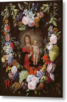 The Virgin And Child With A Garland Of Flowers Oil On Panel Metal Print by Gerard Seghers