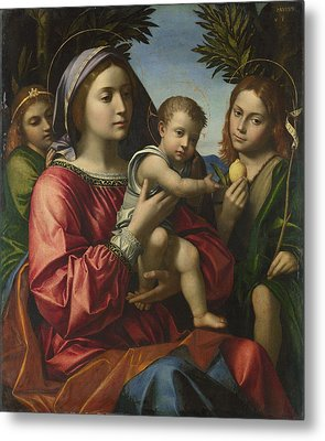 The Virgin And Child With The Baptist And An Angel Metal Print by Paolo Morando