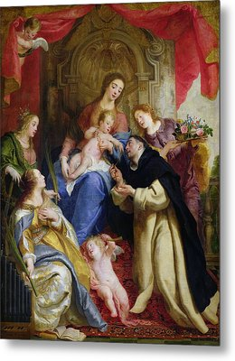 The Virgin Offering The Rosary To St. Dominic Metal Print by Gaspar de Crayer