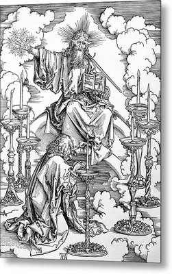 The Vision Of The Seven Candlesticks From The Apocalypse Or The Revelations Of St. John The Divine Metal Print by Albrecht Durer or Duerer