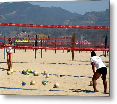 The Volleyball Lesson Metal Print by Ronnie Caplan