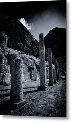 Metal Print featuring the photograph The Votive Monument Of Spartans At Acient Delphi by Micah Goff
