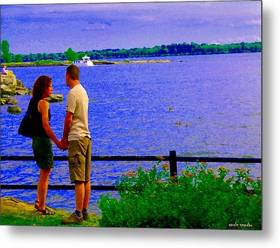 The Vow Lovers Forever By The Lake Summer Romance St Lawrence Shoreline Scenes Carole Spandau Art Metal Print by Carole Spandau