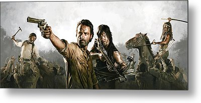 Metal Print featuring the painting The Walking Dead Artwork 1 by Sheraz A