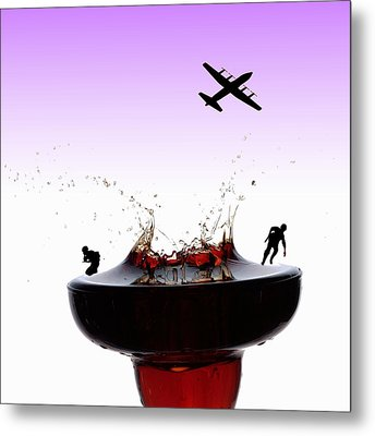 The War On A Cocktail Cup Little People On Food Metal Print by Paul Ge