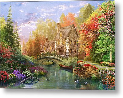 The Water Lake Cottage Metal Print by Dominic Davison