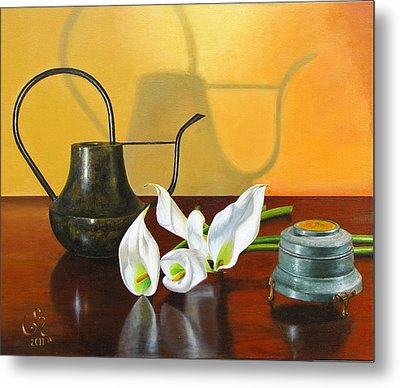 Metal Print featuring the painting The Watering Can by Glenn Beasley
