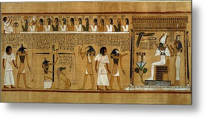 The Weighing Of The Heart Against Maats Feather Of Truth, From The Book Of The Dead Of The Royal Metal Print by Egyptian 19th Dynasty