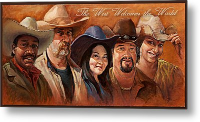 The West Welcomes The World Metal Print by Gini Heywood