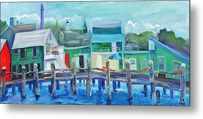 The Wharf In August Metal Print by Maria Milazzo