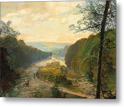 The Wharfe Valley With Barden Tower Beyond Metal Print by John Atkinson Grimshaw