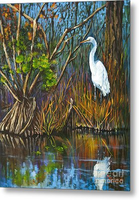 Metal Print featuring the painting The White Heron by Dianne Parks
