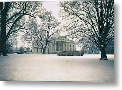 The White House In Winter Metal Print by Mountain Dreams