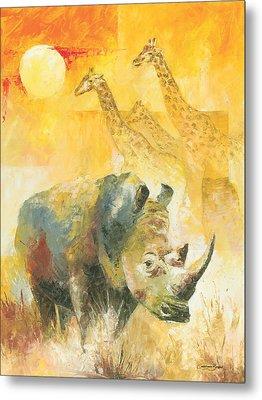 The White Rhino Metal Print by Christiaan Bekker