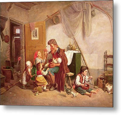 The Widowed Family, 19th Century Metal Print by Giuseppe Mazzolini