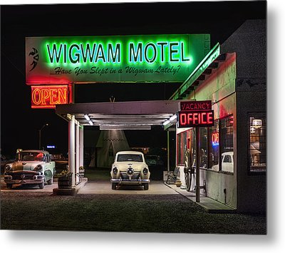 The Wigwam Motel Neon Metal Print