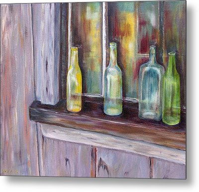 Metal Print featuring the painting The Windowsill by Diane Daigle