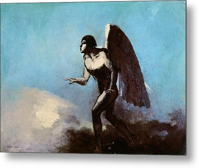 The Winged Man Or Fallen Angel Metal Print by Odilon Redon