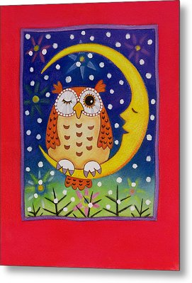 The Winking Owl Metal Print by Cathy Baxter