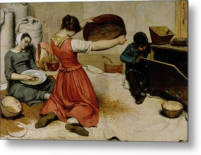 The Winnowers Metal Print by Gustave Courbet