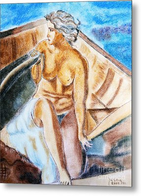 Metal Print featuring the painting The Woman Rower by Jasna Dragun