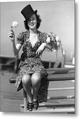 The Woman With Carnations Metal Print by Underwood Archives
