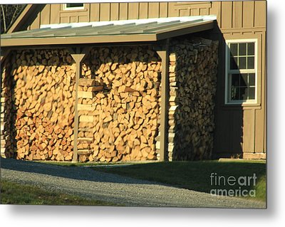 The Wood Pile Metal Print