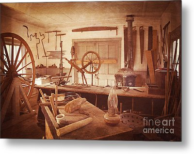 The Wood Workers Shop Vintage Metal Print by Lee Craig
