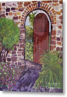 Metal Print featuring the painting The Wooden Door by Lucia Grilletto