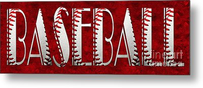 The Word Is Baseball On Red Metal Print by Andee Design