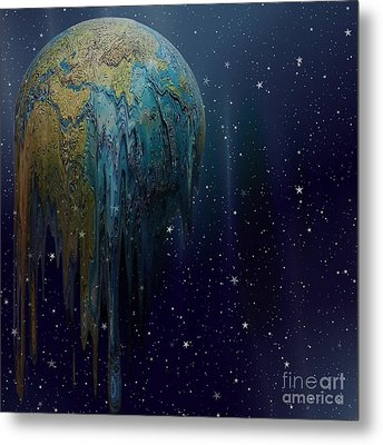 The World Is Melting Metal Print by Liane Wright