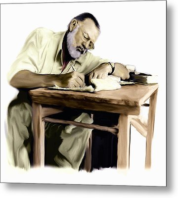 The Writer  Ernest Hemingway Metal Print by Iconic Images Art Gallery David Pucciarelli