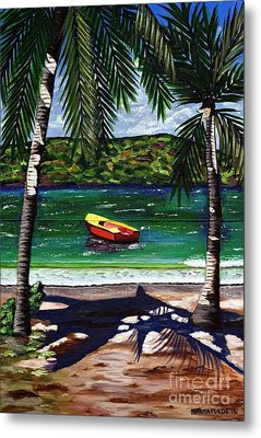 The Yellow And Red Boat Metal Print by Laura Forde