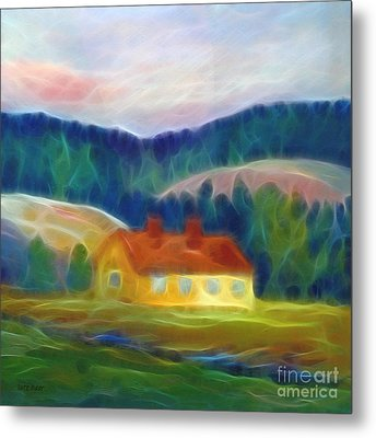 The Yellow Cottage Metal Print by Lutz Baar