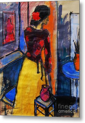 The Yellow Skirt - Pia #9 - Figure Series Metal Print by Mona Edulesco