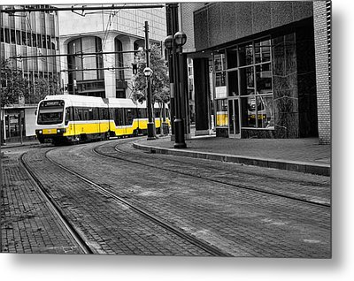 The Yellow Train Of Dallas Metal Print