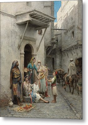The Young Flower Seller Metal Print by Pierre Outin