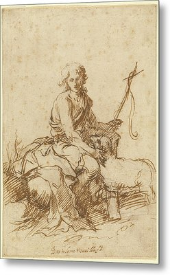 The Youthful Saint John The Baptist Seated In A Landscape Metal Print