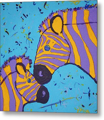 Metal Print featuring the painting The Zebra Nuzzle by Yshua The Painter