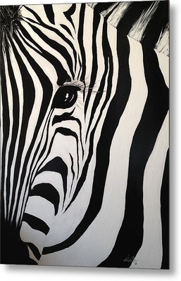 Metal Print featuring the painting The Zebra With One Eye by Alan Lakin