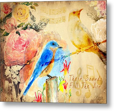 Metal Print featuring the mixed media Their Sounds Fill The Air by Arline Wagner