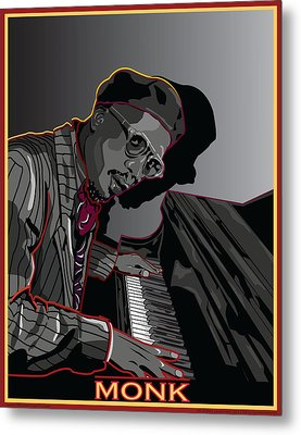 Thelonius Monk Legendary Jazz  Pianist Metal Print by Larry Butterworth