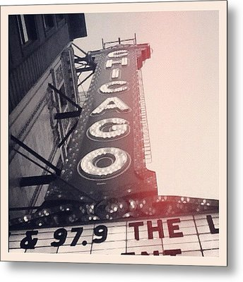 #theloop #chicago #chicagotheatre Metal Print by Mike Maher