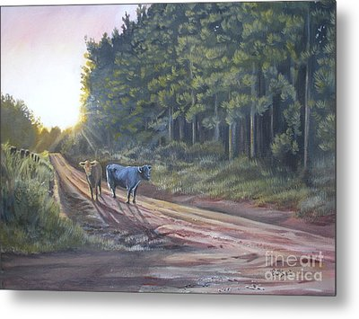 Them Cows Is Out Again Metal Print by Callie Smith