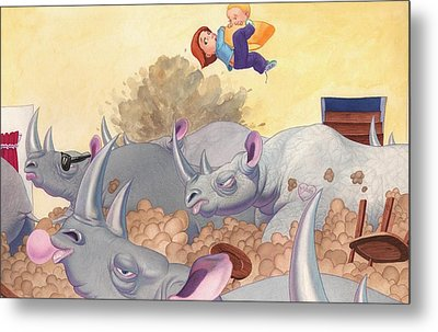 Then Came The Rhinos Metal Print by Richard Moore