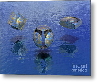 Metal Print featuring the digital art Then There Were Three - Surrealism by Sipo Liimatainen