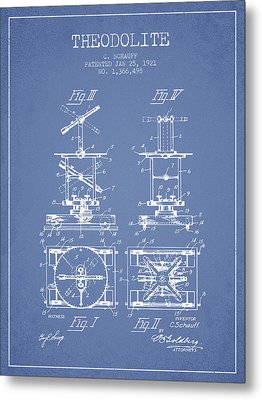 Theodolite Patent From 1921- Light Blue Metal Print