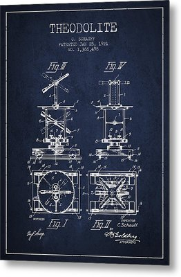 Theodolite Patent From 1921- Navy Blue Metal Print