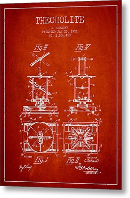 Theodolite Patent From 1921- Red Metal Print