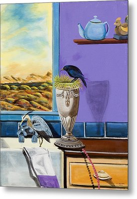Metal Print featuring the painting There Are Birds In The Kitchen Sink by Susan Culver